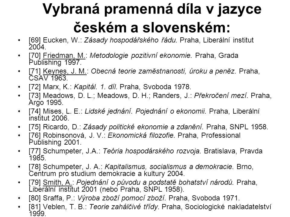 Vybraná pramenná díla v jazyce českém a slovenském: [69] Eucken, W.: Zásady hospodářského řádu. Praha, Liberální institut 2004. [70] Friedman, M.: Met