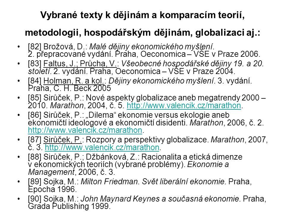 Vybrané texty k dějinám a komparacím teorií, metodologii, hospodářským dějinám, globalizaci aj.: [82] Brožová, D.: Malé dějiny ekonomického myšlení. 2