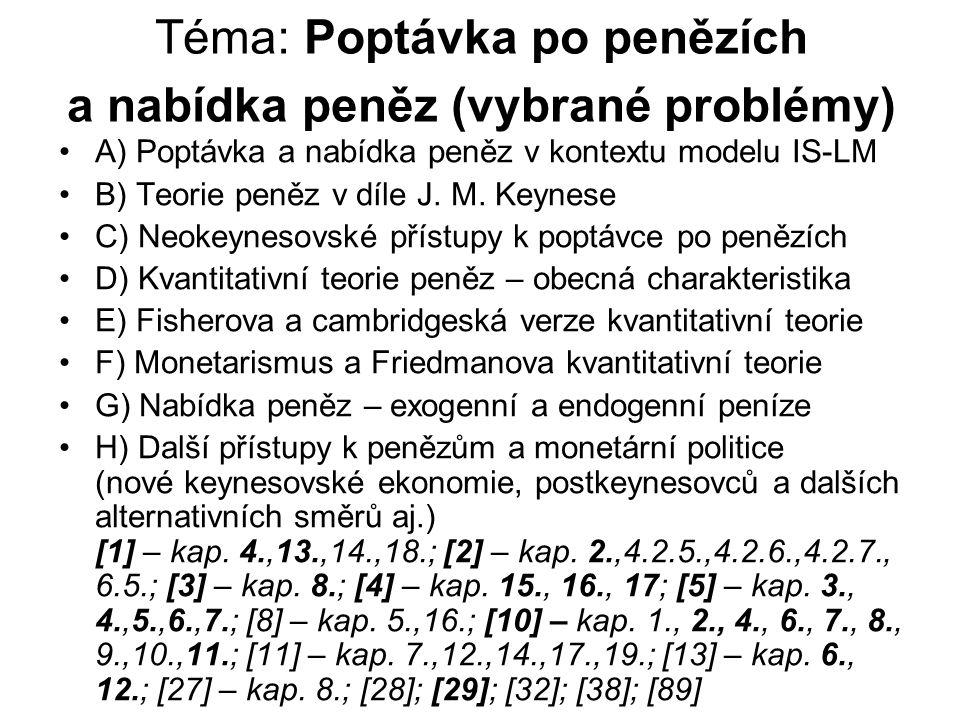 Téma: Poptávka po penězích a nabídka peněz (vybrané problémy) A) Poptávka a nabídka peněz v kontextu modelu IS-LM B) Teorie peněz v díle J. M. Keynese