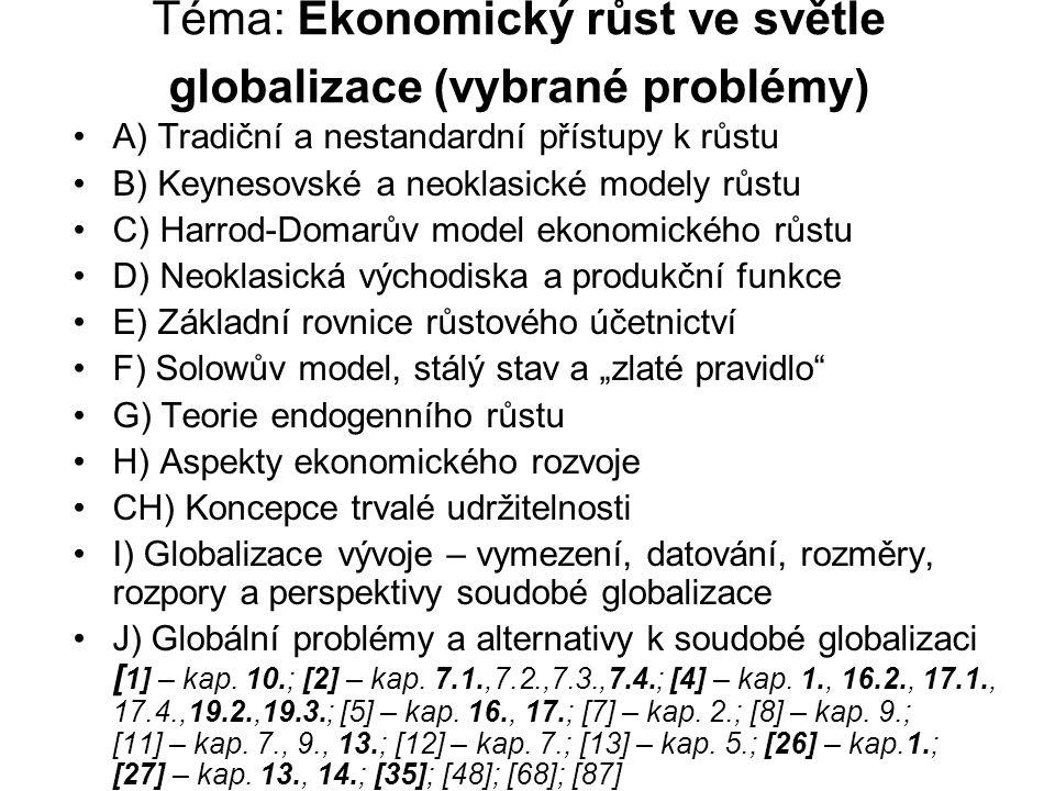Téma: Ekonomický růst ve světle globalizace (vybrané problémy) A) Tradiční a nestandardní přístupy k růstu B) Keynesovské a neoklasické modely růstu C