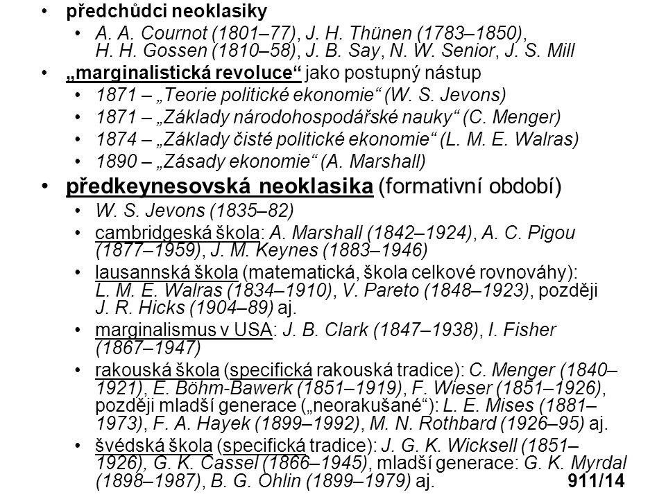 """předchůdci neoklasiky A. A. Cournot (1801–77), J. H. Thünen (1783–1850), H. H. Gossen (1810–58), J. B. Say, N. W. Senior, J. S. Mill """"marginalistická"""