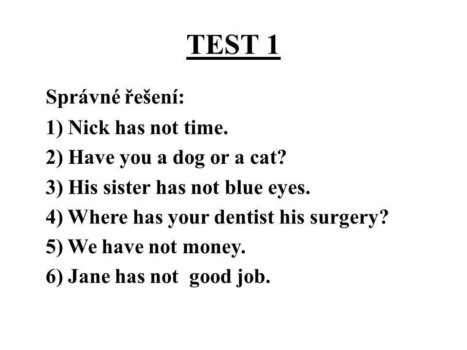 TEST 1 Správné řešení: 1) Nick has not time.2) Have you a dog or a cat.