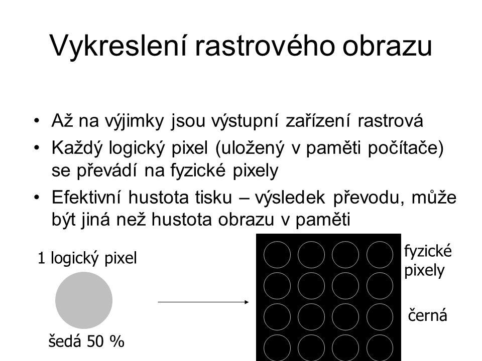 Vykreslení rastrového obrazu Až na výjimky jsou výstupní zařízení rastrová Každý logický pixel (uložený v paměti počítače) se převádí na fyzické pixely Efektivní hustota tisku – výsledek převodu, může být jiná než hustota obrazu v paměti 1 logický pixel šedá 50 % fyzické pixely černá