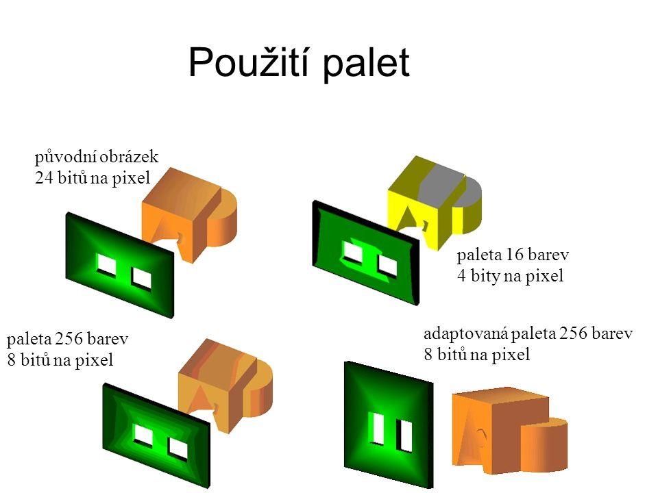 Použití palet původní obrázek 24 bitů na pixel paleta 16 barev 4 bity na pixel paleta 256 barev 8 bitů na pixel adaptovaná paleta 256 barev 8 bitů na pixel