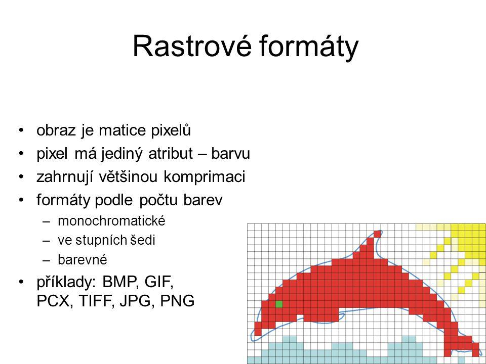 Rastrové formáty obraz je matice pixelů pixel má jediný atribut – barvu zahrnují většinou komprimaci formáty podle počtu barev –monochromatické –ve stupních šedi –barevné příklady: BMP, GIF, PCX, TIFF, JPG, PNG