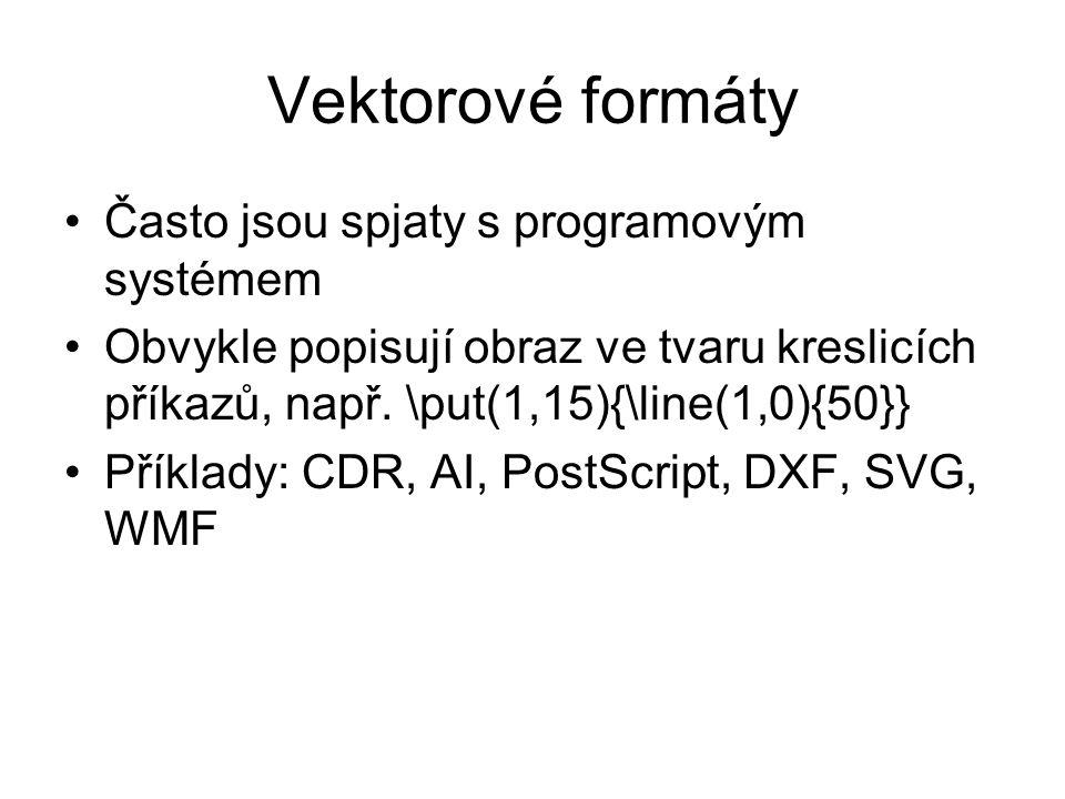 Vektorové formáty Často jsou spjaty s programovým systémem Obvykle popisují obraz ve tvaru kreslicích příkazů, např.