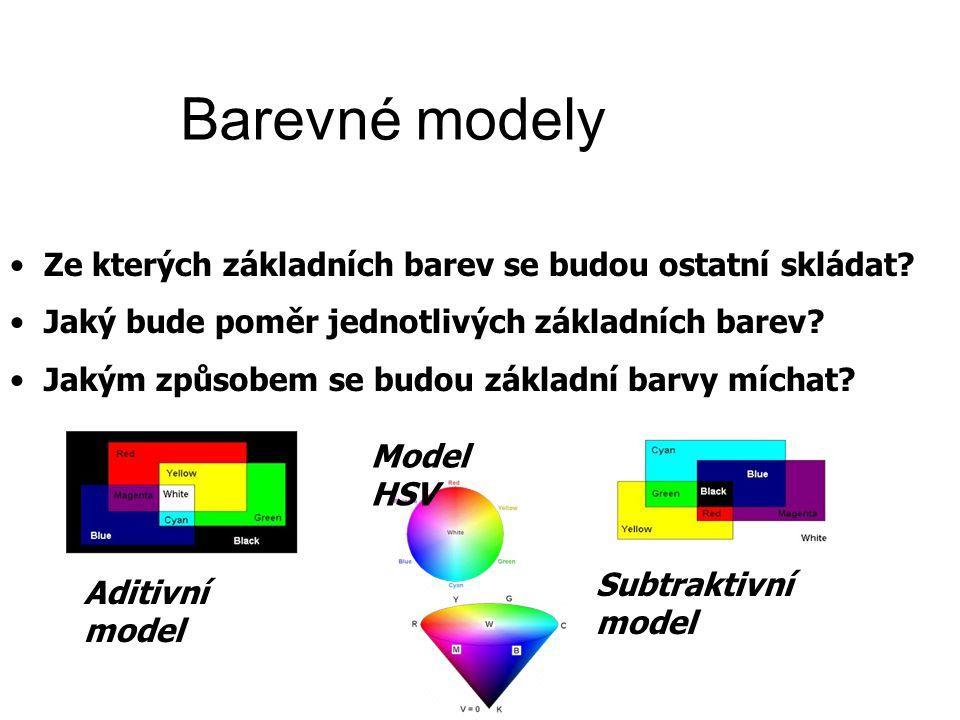 Barevné modely Ze kterých základních barev se budou ostatní skládat.
