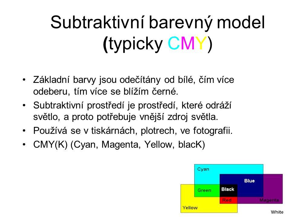 Subtraktivní barevný model (typicky CMY) Základní barvy jsou odečítány od bílé, čím více odeberu, tím více se blížím černé.