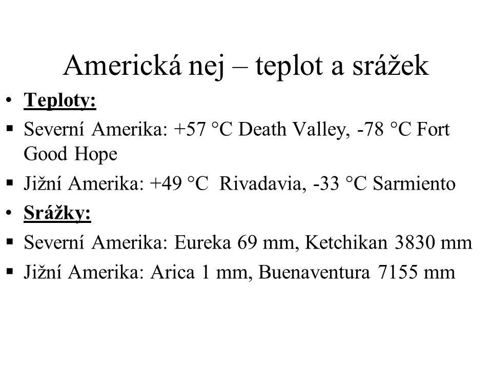 Americká nej – teplot a srážek Teploty:  Severní Amerika: +57 °C Death Valley, -78 °C Fort Good Hope  Jižní Amerika: +49 °C Rivadavia, -33 °C Sarmiento Srážky:  Severní Amerika: Eureka 69 mm, Ketchikan 3830 mm  Jižní Amerika: Arica 1 mm, Buenaventura 7155 mm