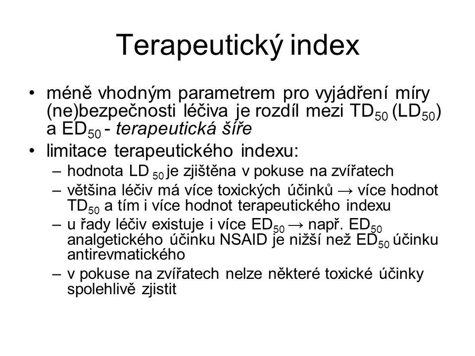 Terapeutický index méně vhodným parametrem pro vyjádření míry (ne)bezpečnosti léčiva je rozdíl mezi TD 50 (LD 50 ) a ED 50 - terapeutická šíře limitace terapeutického indexu: –hodnota LD 50 je zjištěna v pokuse na zvířatech –většina léčiv má více toxických účinků → více hodnot TD 50 a tím i více hodnot terapeutického indexu –u řady léčiv existuje i více ED 50 → např.
