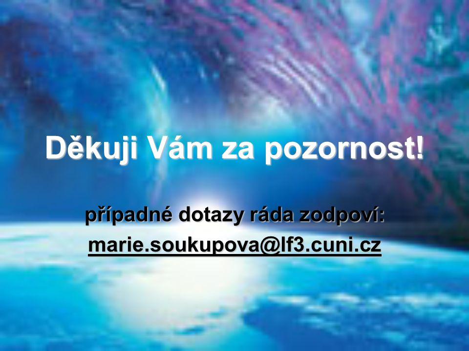 Děkuji Vám za pozornost! případné dotazy ráda zodpoví: marie.soukupova@lf3.cuni.cz