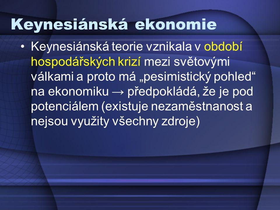 """Keynesiánská ekonomie Keynesiánská teorie vznikala v období hospodářských krizí mezi světovými válkami a proto má """"pesimistický pohled"""" na ekonomiku →"""
