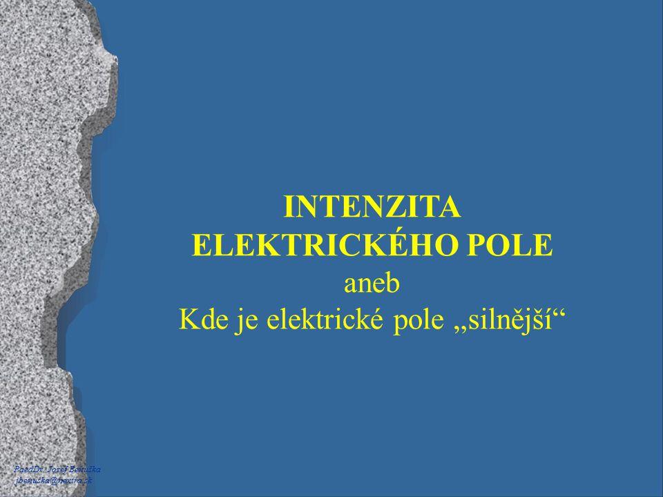 """PaedDr. Jozef Beňuška jbenuska@nextra.sk INTENZITA ELEKTRICKÉHO POLE aneb Kde je elektrické pole """"silnější"""""""