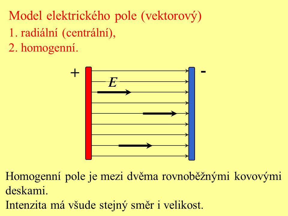 Homogenní pole je mezi dvěma rovnoběžnými kovovými deskami. Intenzita má všude stejný směr i velikost. + - Model elektrického pole (vektorový) 1. radi