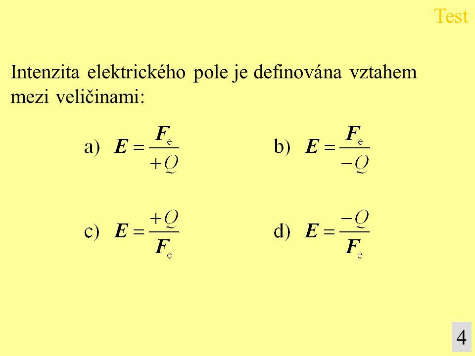 Intenzita elektrického pole je definována vztahem mezi veličinami: Test 4