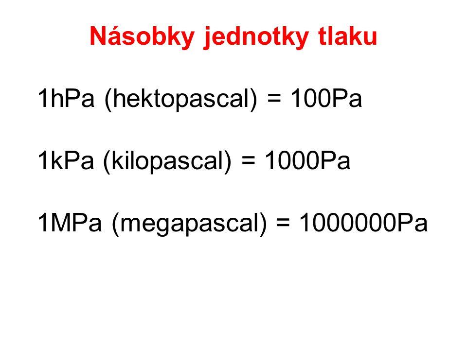 1hPa (hektopascal) = 100Pa 1kPa (kilopascal) = 1000Pa 1MPa (megapascal) = 1000000Pa Násobky jednotky tlaku