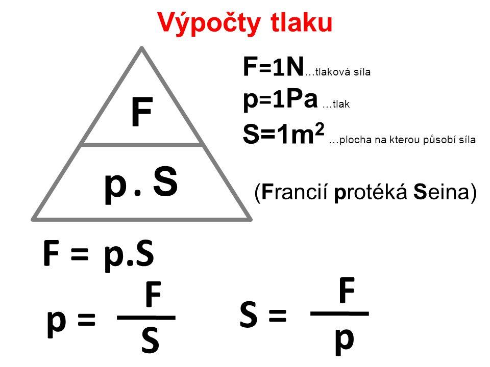F p F =1 N …tlaková síla p =1 Pa …tlak S=1m 2 …plocha na kterou působí síla. S F =p.S p = F S S = F p (Francií protéká Seina) Výpočty tlaku