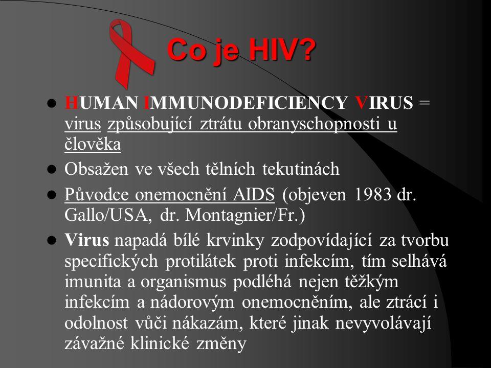 Co je AIDS? ACQUIRED IMMUNO DEFICIENCY SYNDROME = syndrom získaného imunodeficitu, tj. soubor příznaků vedoucí ke ztrátě imunity, tj. obranyschopnosti