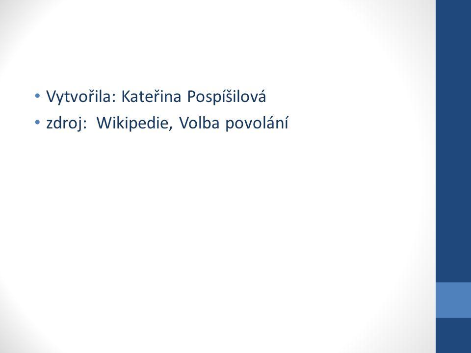 Vytvořila: Kateřina Pospíšilová zdroj: Wikipedie, Volba povolání