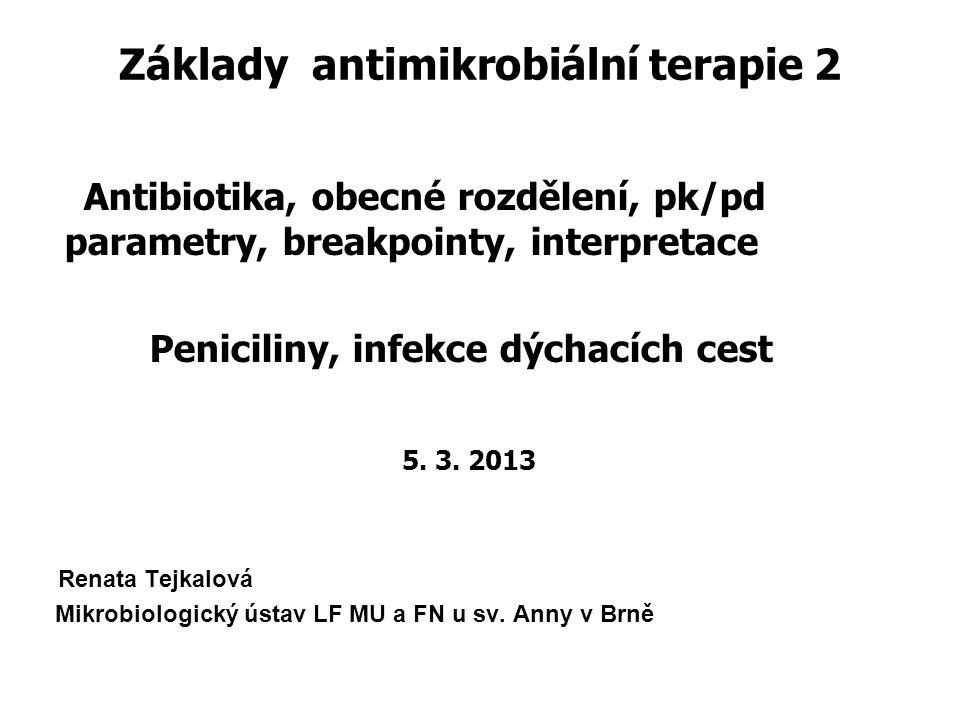 Základy antimikrobiální terapie 2 Antibiotika, obecné rozdělení, pk/pd parametry, breakpointy, interpretace Peniciliny, infekce dýchacích cest 5. 3. 2