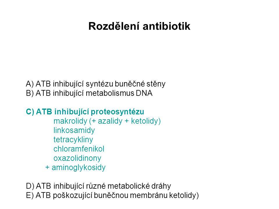 Rozdělení antibiotik A) ATB inhibující syntézu buněčné stěny B) ATB inhibující metabolismus DNA C) ATB inhibující proteosyntézu makrolidy (+ azalidy + ketolidy) linkosamidy tetracykliny chloramfenikol oxazolidinony + aminoglykosidy D) ATB inhibující různé metabolické dráhy E) ATB poškozující buněčnou membránu ketolidy)