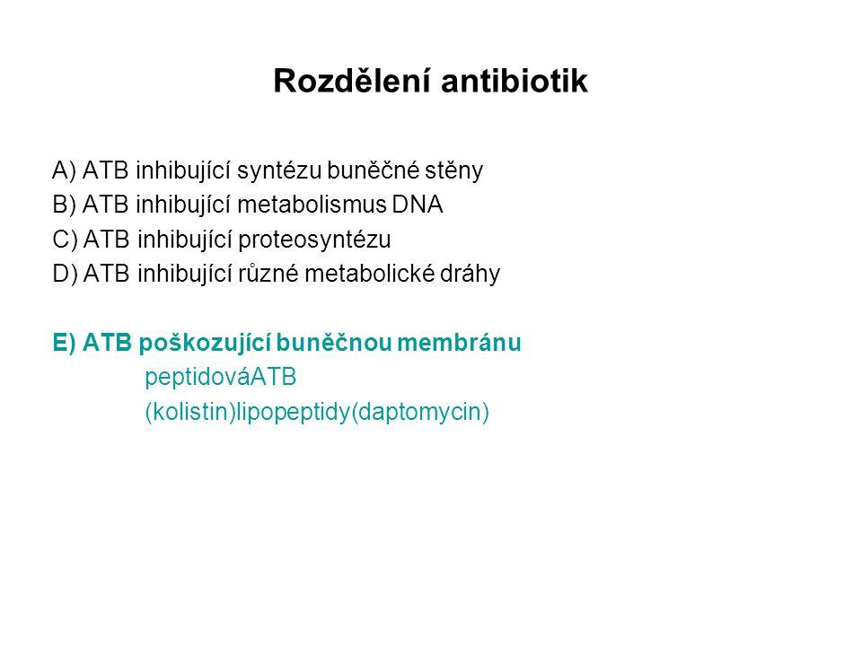 Rozdělení antibiotik A) ATB inhibující syntézu buněčné stěny B) ATB inhibující metabolismus DNA C) ATB inhibující proteosyntézu D) ATB inhibující různé metabolické dráhy E) ATB poškozující buněčnou membránu peptidováATB (kolistin)lipopeptidy(daptomycin)
