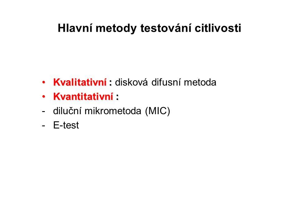 Hlavní metody testování citlivosti Kvalitativní :Kvalitativní : disková difusní metoda Kvantitativní :Kvantitativní : -diluční mikrometoda (MIC) -E-test