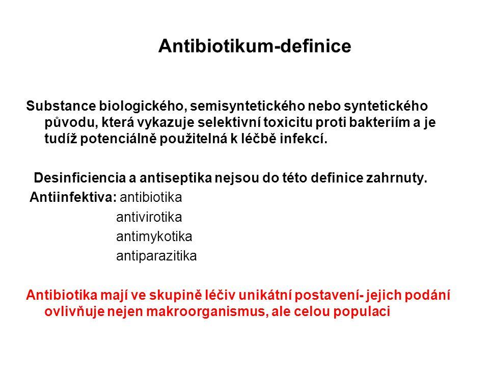 Antibiotikum-definice Substance biologického, semisyntetického nebo syntetického původu, která vykazuje selektivní toxicitu proti bakteriím a je tudíž potenciálně použitelná k léčbě infekcí.