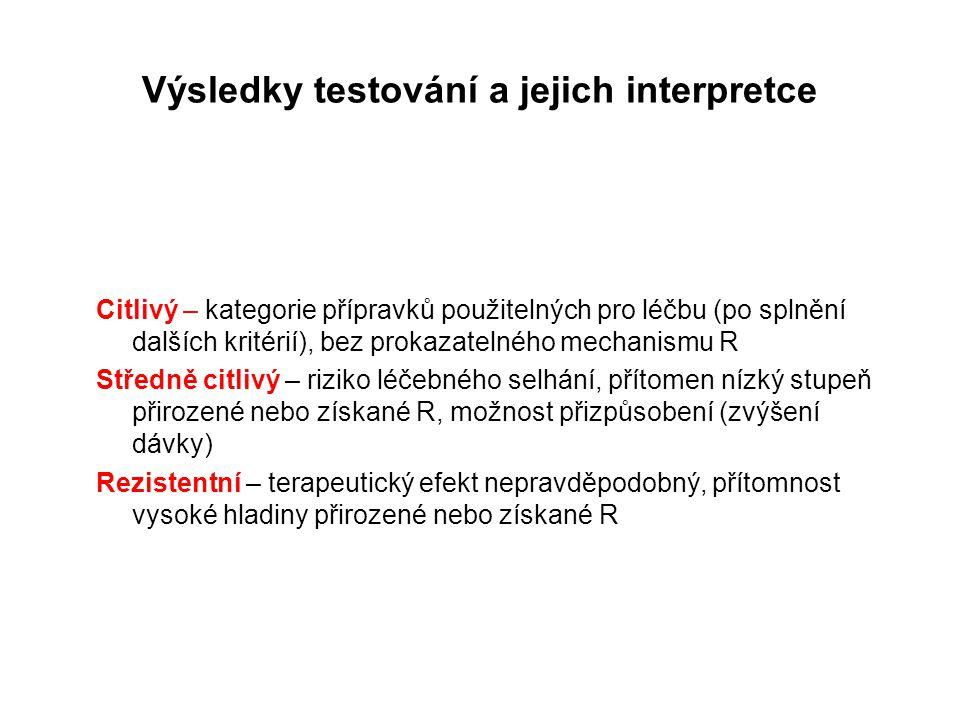 Výsledky testování a jejich interpretce Citlivý – kategorie přípravků použitelných pro léčbu (po splnění dalších kritérií), bez prokazatelného mechani