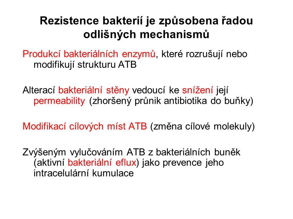 Rezistence bakterií je způsobena řadou odlišných mechanismů Produkcí bakteriálních enzymů, které rozrušují nebo modifikují strukturu ATB Alterací bakteriální stěny vedoucí ke snížení její permeability (zhoršený průnik antibiotika do buňky) Modifikací cílových míst ATB (změna cílové molekuly) Zvýšeným vylučováním ATB z bakteriálních buněk (aktivní bakteriální eflux) jako prevence jeho intracelulární kumulace
