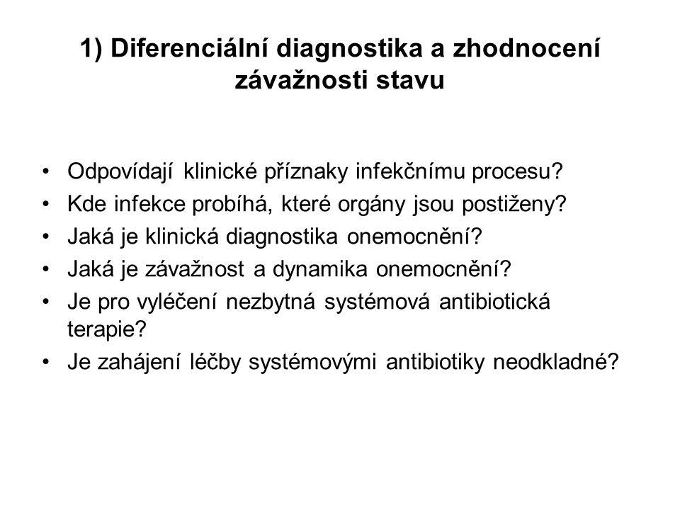 1) Diferenciální diagnostika a zhodnocení závažnosti stavu Odpovídají klinické příznaky infekčnímu procesu? Kde infekce probíhá, které orgány jsou pos