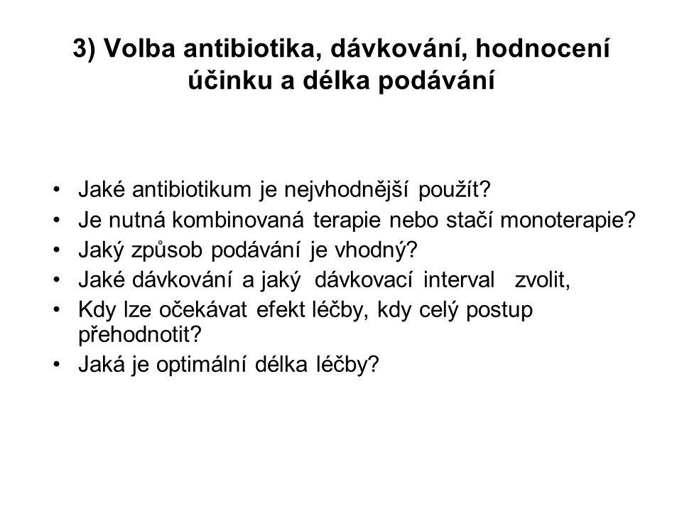 3) Volba antibiotika, dávkování, hodnocení účinku a délka podávání Jaké antibiotikum je nejvhodnější použít? Je nutná kombinovaná terapie nebo stačí m