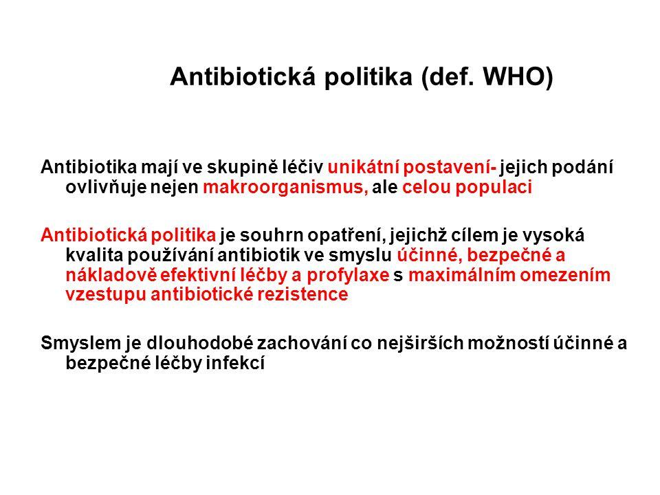 Antibiotická politika (def. WHO) Antibiotika mají ve skupině léčiv unikátní postavení- jejich podání ovlivňuje nejen makroorganismus, ale celou popula
