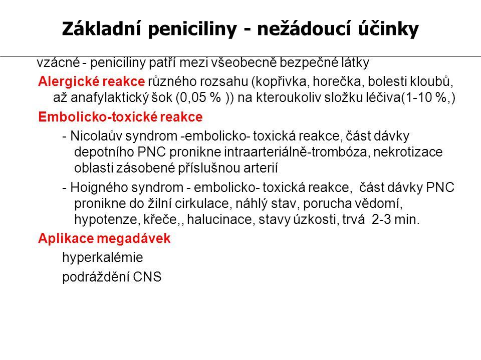 vzácné - peniciliny patří mezi všeobecně bezpečné látky Alergické reakce různého rozsahu (kopřivka, horečka, bolesti kloubů, až anafylaktický šok (0,05 % )) na kteroukoliv složku léčiva(1-10 %,) Embolicko-toxické reakce - Nicolaův syndrom -embolicko- toxická reakce, část dávky depotního PNC pronikne intraarteriálně-trombóza, nekrotizace oblasti zásobené příslušnou arterií - Hoigného syndrom - embolicko- toxická reakce, část dávky PNC pronikne do žilní cirkulace, náhlý stav, porucha vědomí, hypotenze, křeče,, halucinace, stavy úzkosti, trvá 2-3 min.