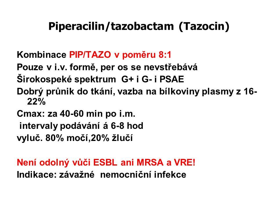 Piperacilin/tazobactam (Tazocin) Kombinace PIP/TAZO v poměru 8:1 Pouze v i.v. formě, per os se nevstřebává Širokospeké spektrum G+ i G- i PSAE Dobrý p