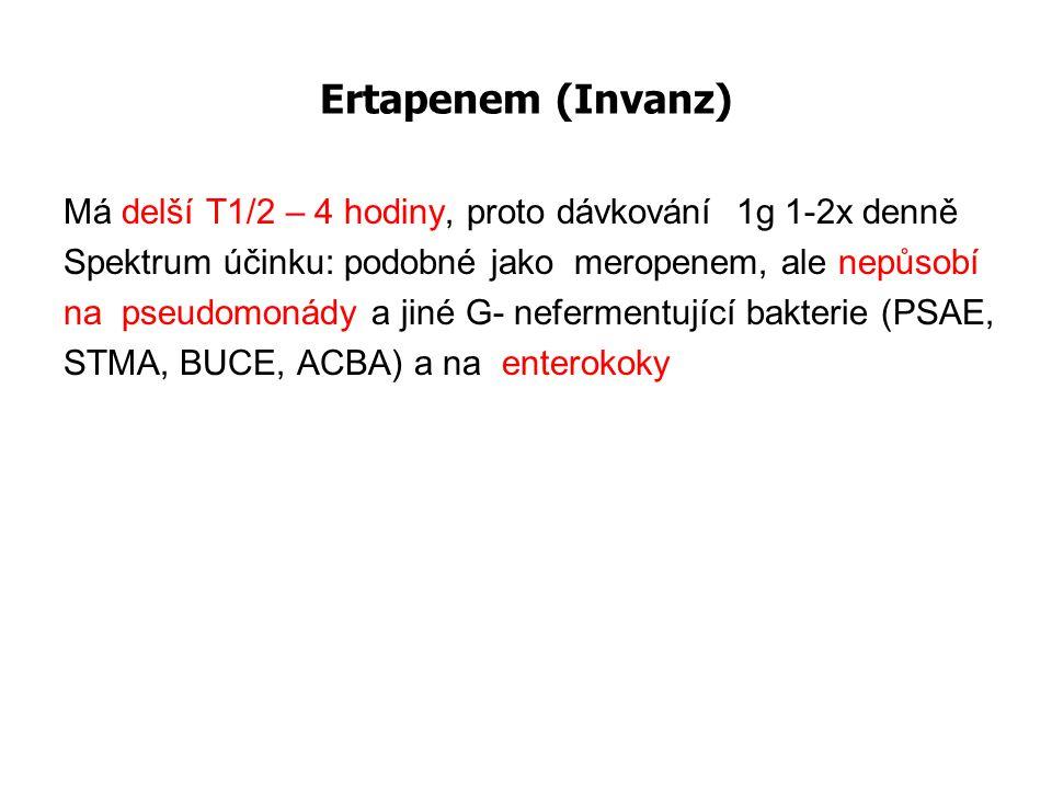 Ertapenem (Invanz) Má delší T1/2 – 4 hodiny, proto dávkování 1g 1-2x denně Spektrum účinku: podobné jako meropenem, ale nepůsobí na pseudomonády a jiné G- nefermentující bakterie (PSAE, STMA, BUCE, ACBA) a na enterokoky