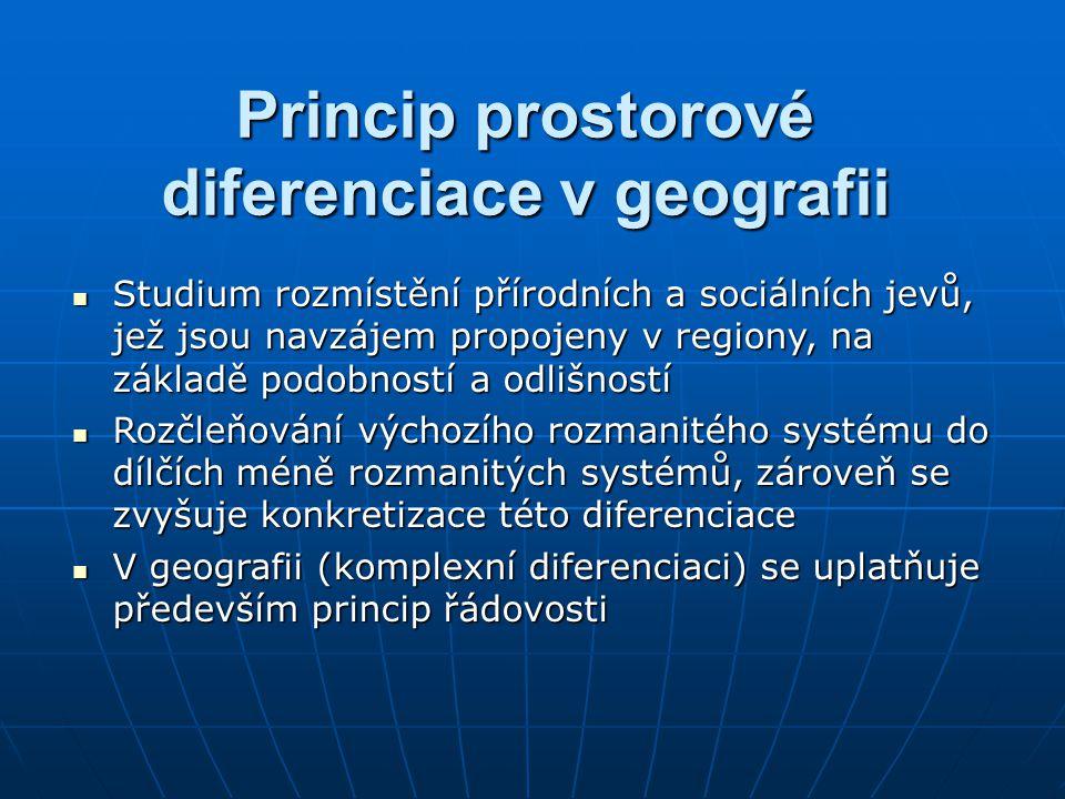 Princip prostorové diferenciace v geografii Studium rozmístění přírodních a sociálních jevů, jež jsou navzájem propojeny v regiony, na základě podobno