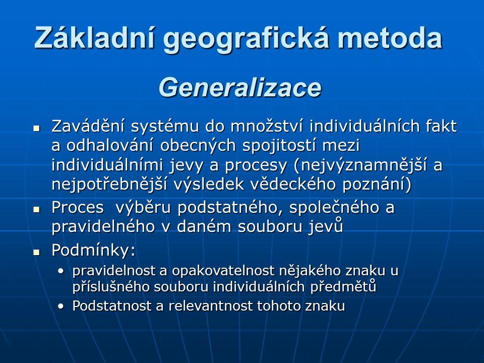 Základní geografická metoda Zavádění systému do množství individuálních fakt a odhalování obecných spojitostí mezi individuálními jevy a procesy (nejv