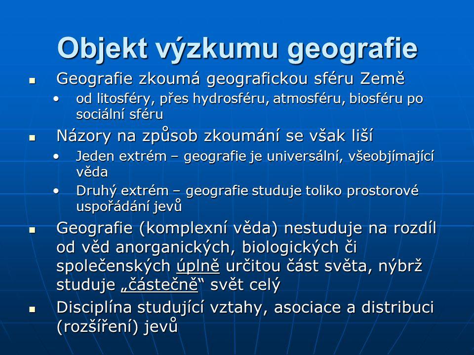 Objekt výzkumu geografie Geografie zkoumá geografickou sféru Země Geografie zkoumá geografickou sféru Země od litosféry, přes hydrosféru, atmosféru, b
