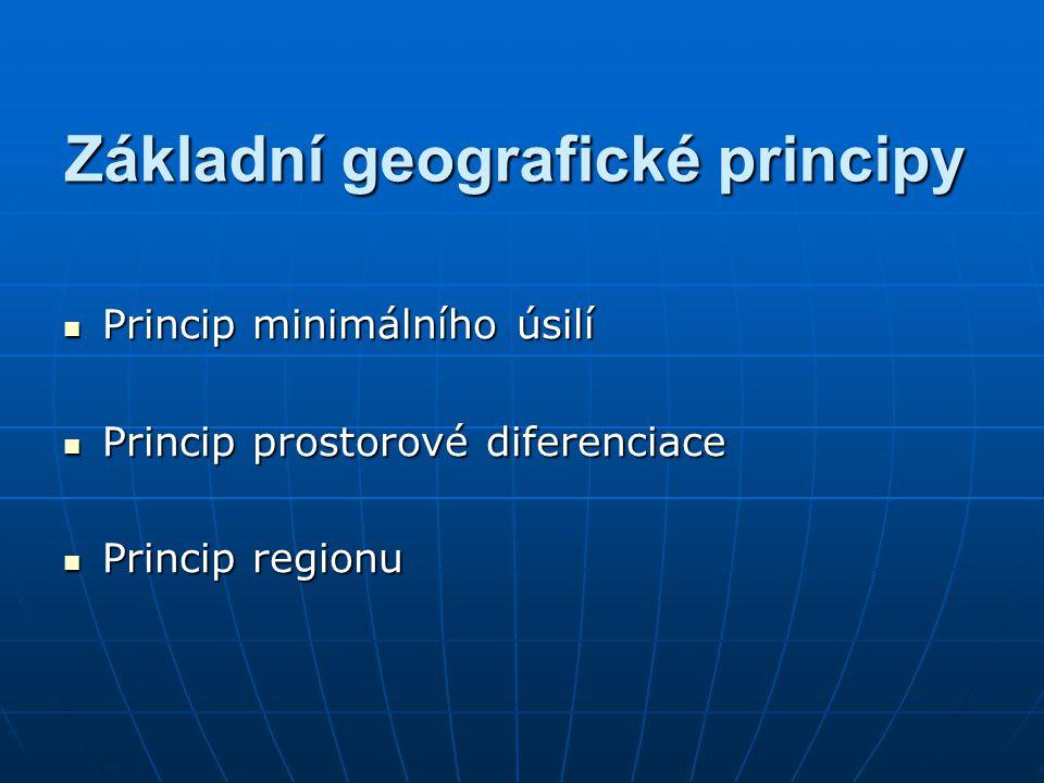 Základní geografické principy Princip minimálního úsilí Princip minimálního úsilí Princip prostorové diferenciace Princip prostorové diferenciace Prin