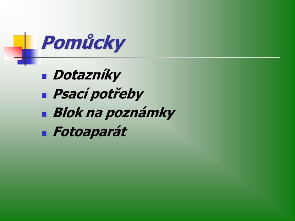 Pomůcky Dotazníky Psací potřeby Blok na poznámky Fotoaparát