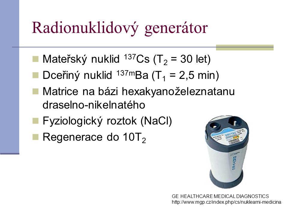 Radionuklidový generátor Mateřský nuklid 137 Cs (T 2 = 30 let) Dceřiný nuklid 137m Ba (T 1 = 2,5 min) Matrice na bázi hexakyanoželeznatanu draselno-nikelnatého Fyziologický roztok (NaCl) Regenerace do 10T 2 GE HEALTHCARE MEDICAL DIAGNOSTICS http://www.mgp.cz/index.php/cs/nuklearni-medicina