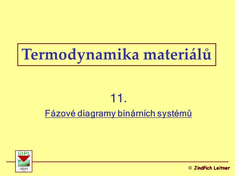 2 Fázové diagramy binárních systémů Gibbsovo fázové pravidlo Závislost Gibbsovy energie dvousložkového systému na složení Diagramy G-x A a T-x A (společné tečny) –Úplná mísitelnost (s) –Omezená mísitelnost (s) –Nemísitelnost (s) Základní typy FD binárních systémů