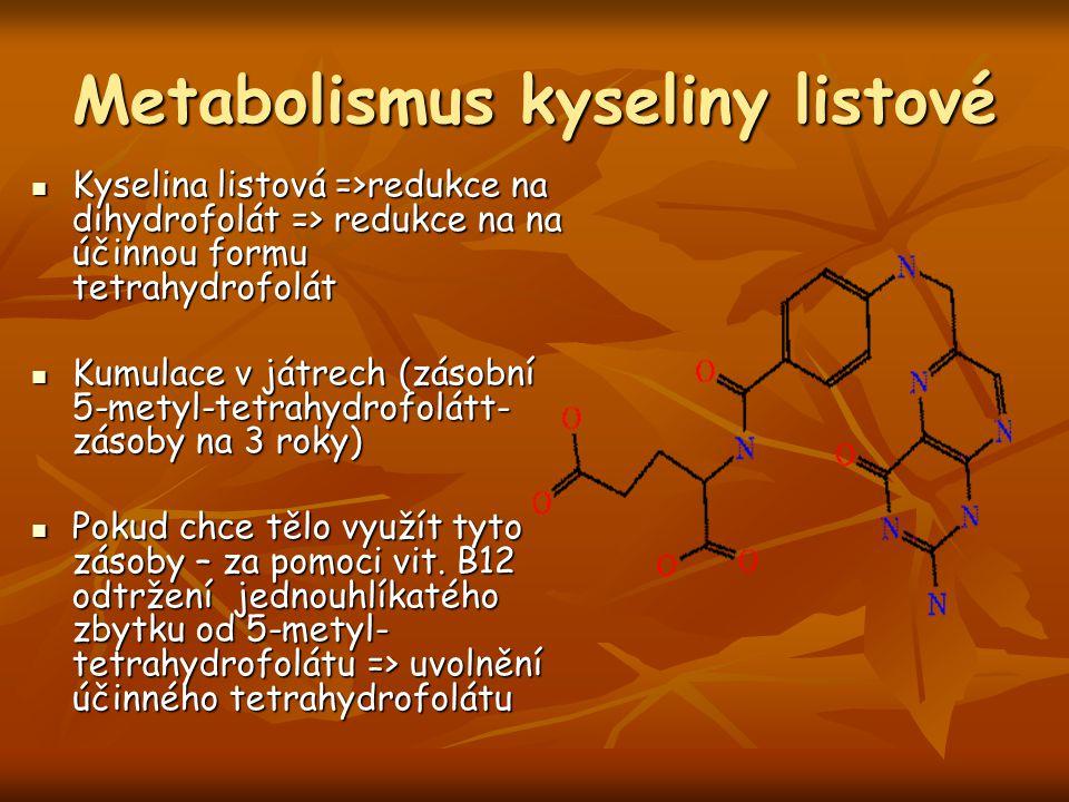 Metabolismus kyseliny listové Kyselina listová =>redukce na dihydrofolát => redukce na na účinnou formu tetrahydrofolát Kyselina listová =>redukce na