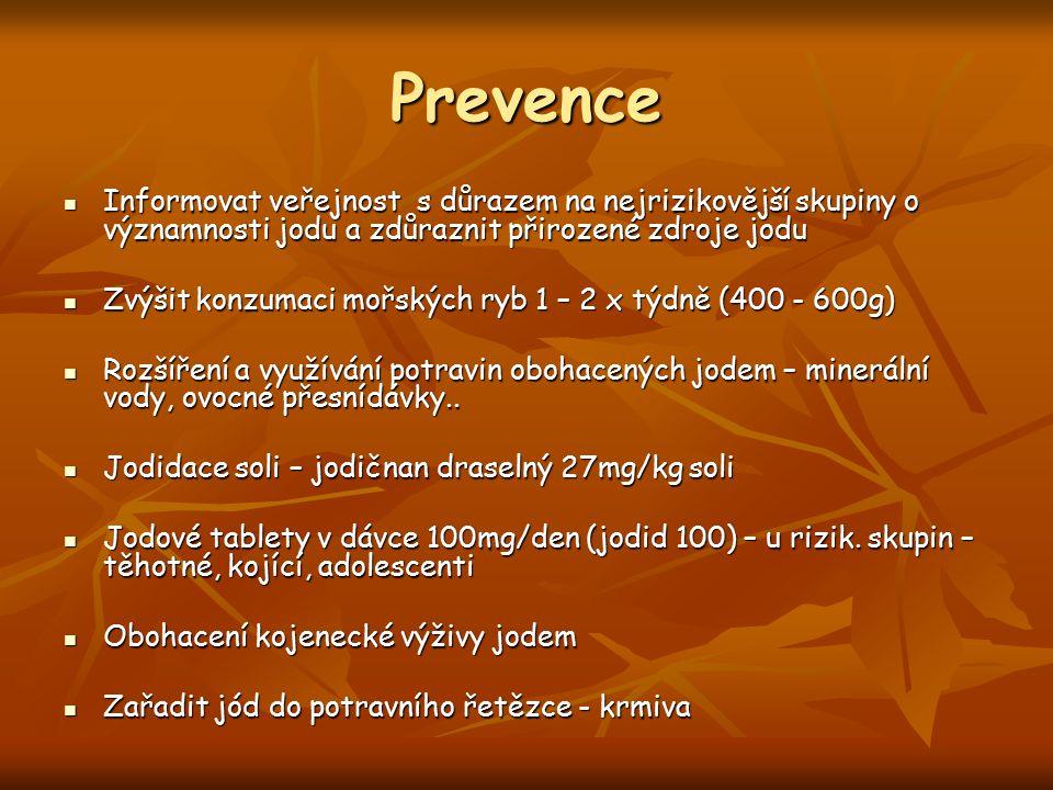 Prevence Informovat veřejnost s důrazem na nejrizikovější skupiny o významnosti jodu a zdůraznit přirozené zdroje jodu Informovat veřejnost s důrazem