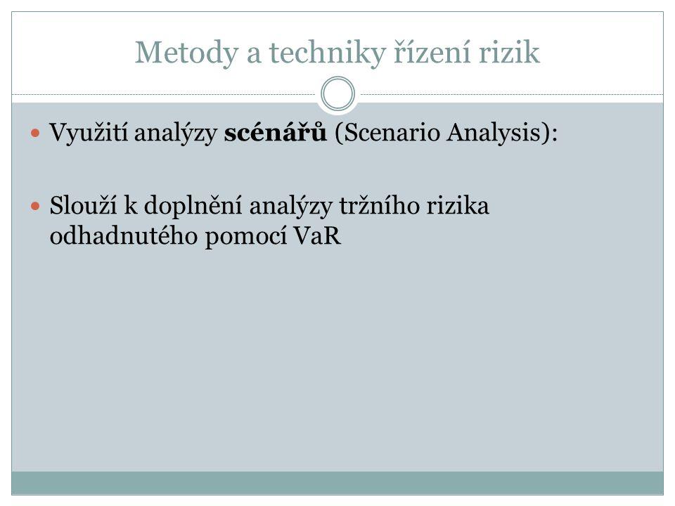 Metody a techniky řízení rizik Využití analýzy scénářů (Scenario Analysis): Slouží k doplnění analýzy tržního rizika odhadnutého pomocí VaR