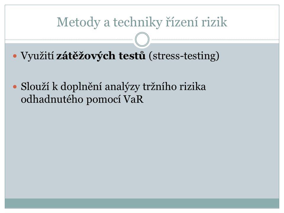 Metody a techniky řízení rizik Využití zátěžových testů (stress-testing) Slouží k doplnění analýzy tržního rizika odhadnutého pomocí VaR