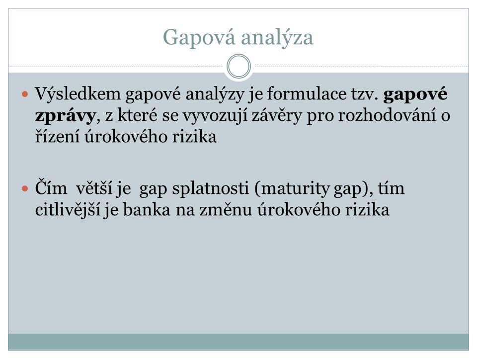 Gapová analýza Výsledkem gapové analýzy je formulace tzv. gapové zprávy, z které se vyvozují závěry pro rozhodování o řízení úrokového rizika Čím větš