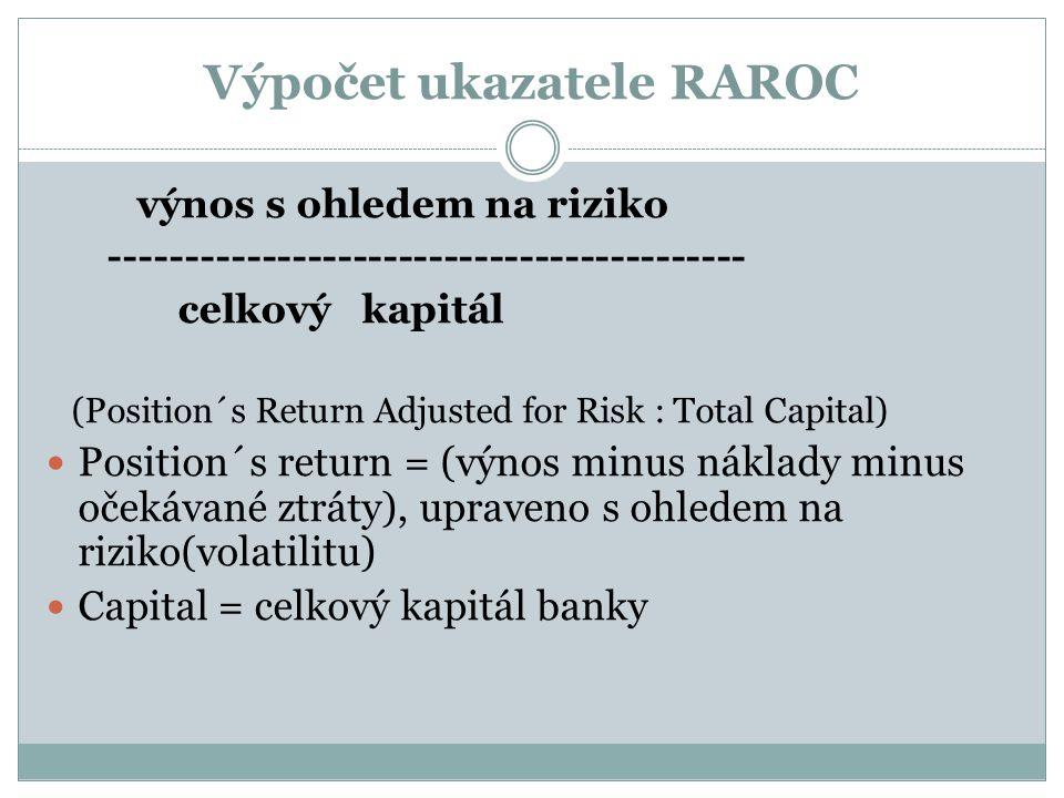 Výpočet ukazatele RAROC výnos s ohledem na riziko ------------------------------------------ celkový kapitál (Position´s Return Adjusted for Risk : Total Capital) Position´s return = (výnos minus náklady minus očekávané ztráty), upraveno s ohledem na riziko(volatilitu) Capital = celkový kapitál banky