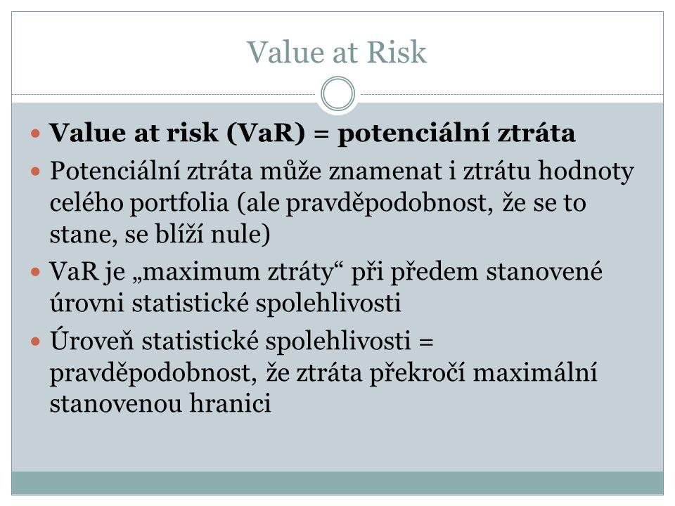 """Value at Risk Value at risk (VaR) = potenciální ztráta Potenciální ztráta může znamenat i ztrátu hodnoty celého portfolia (ale pravděpodobnost, že se to stane, se blíží nule) VaR je """"maximum ztráty při předem stanovené úrovni statistické spolehlivosti Úroveň statistické spolehlivosti = pravděpodobnost, že ztráta překročí maximální stanovenou hranici"""